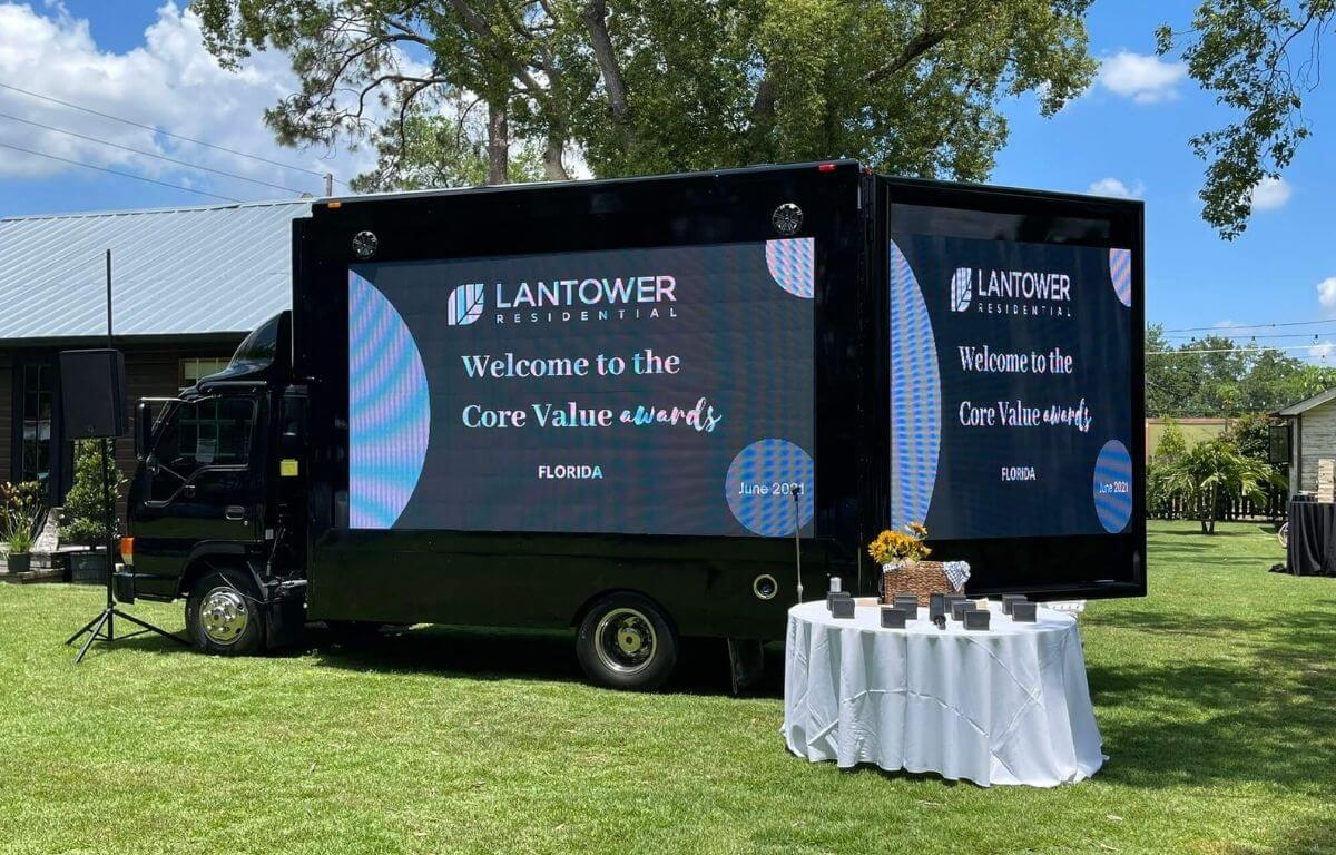 Corporate branding through mobile billboard LED truck